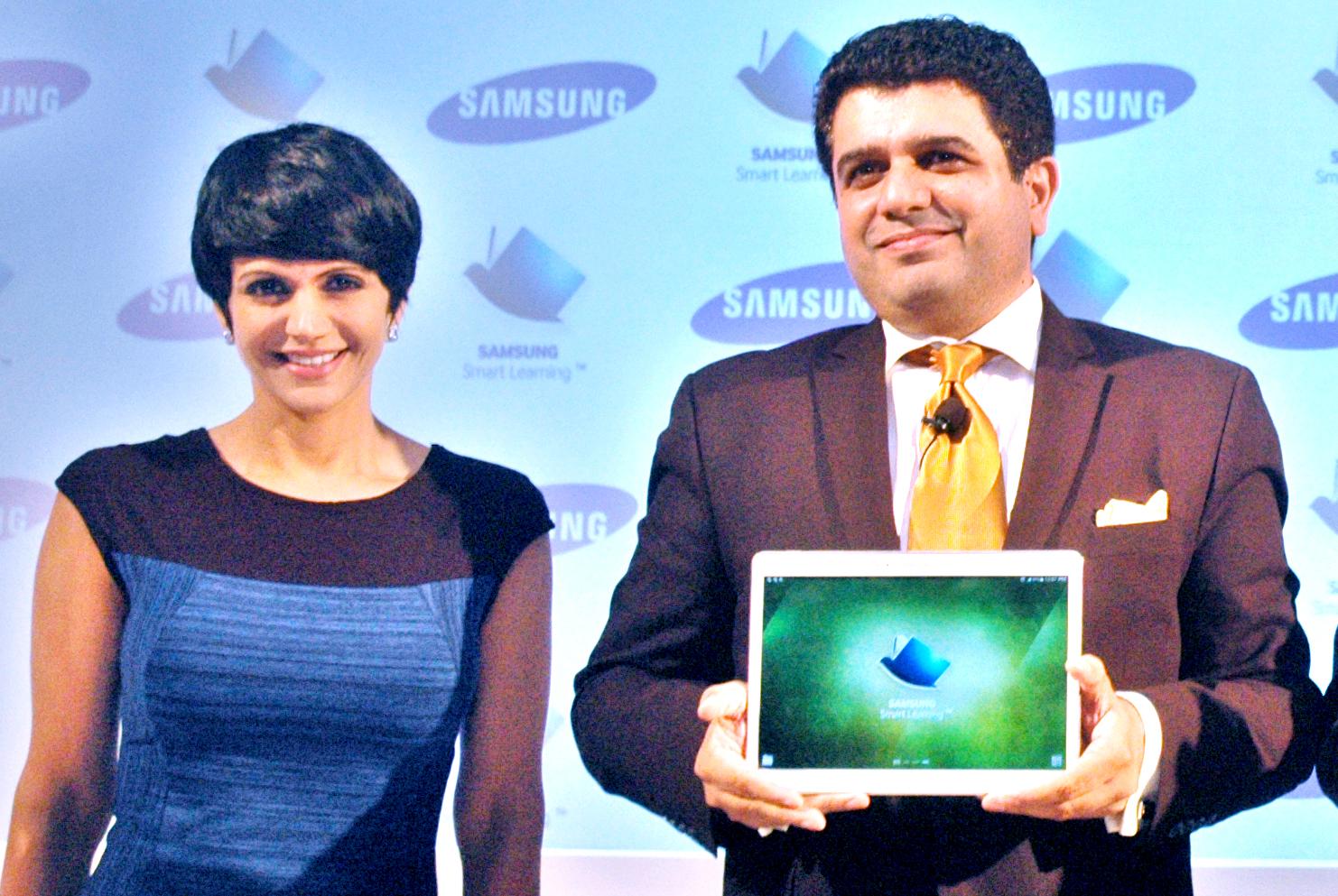 Actress Mandira Bedi and Tarun Mallik launch of Samsung's Smart learning initiative