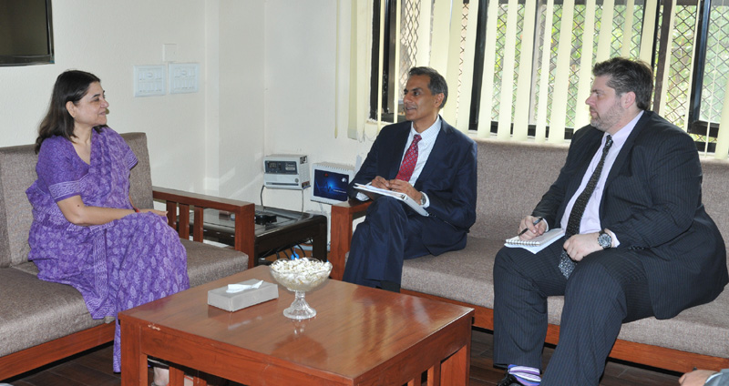 US Ambassador Mr. Richard Verma meeting the  Maneka Sanjay Gandhi
